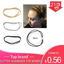 3Pcs Fashion Women Glitter Elastic Headband Bling Hairband Scrunchie Headband Girls Double Hair Bands for Hair Accessories