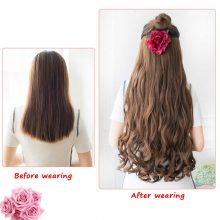 DIFEI 24 inch Long Wavy Clip in one Piece Synthetic Hair Extension Brown Black Heat Resistant Fiber 5 Clips Hairpiece for Women