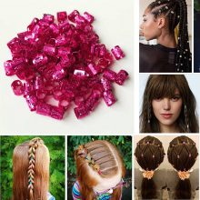 100 Pcs/Lot Dreadlocks Beads Adjustable Hair Braid Rings Metal Hair Cuffs Clips Tubes for Hair Styling Accessories Tools