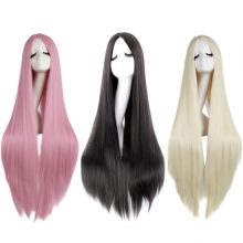 MapofBeauty Long Straight Cosplay Wigs For Women  Black White Brown Blonde Pink Party Heat Resistant Synthetic Fake Hair