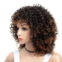 14inch Short Kinky Curly Wig Afro American Wigs for Black Women  Brown Mixed Blonde Synthetic Heat Resistant Wigs with Bangs