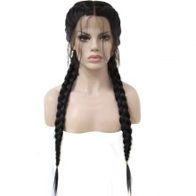 Anogol Middle Part Long Double Braids Straight Natural Black Braided Synthetic Light Brown Swiss Lace Front Wig With Baby Hair
