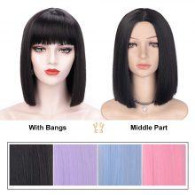 AISI HAIR Short Straight Wig with Bangs for Women Synthetic Wigs Black Purple Pink Blue  Bob Wig  Heat Resistant Cosplay Hair